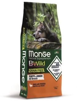 Monge Dog BWild GRAIN FREE Puppy&Junior беззерновой корм из мяса утки с картофелем для щенков всех пород 12 кг