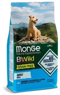 Monge Dog BWild GRAIN FREE Mini беззерновой корм из анчоуса с картофелем и горохом для взрослых собак мелких пород 2,5кг