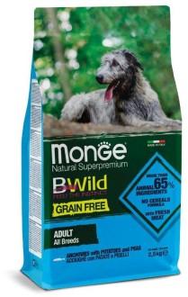 Monge Dog BWild GRAIN FREE беззерновой корм из анчоуса c картофелем и горохом для собак всех пород