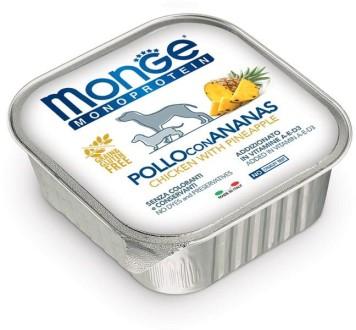 Monge Dog Monoprotein Fruits консервы для собак паштет из курицы с ананасом 150г