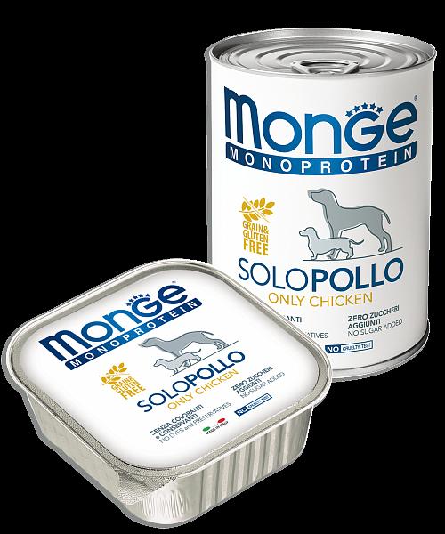Monge Dog Monoprotein Solo консервы для собак паштет из курицы 400г