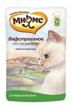 Мнямс паучи для кошек Бефстроганов по-тасмански (с мясом страуса) 85 г