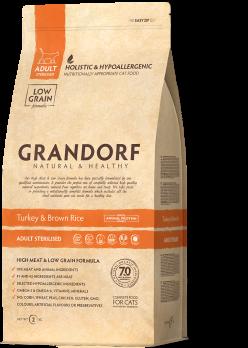Grandorf STERILISED Для стерилизованных кошек, индейка и коричневый рис