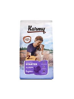 Karmy Starter сухой корм для щенков до 4 месяцев, беременных и кормящих сук Индейка