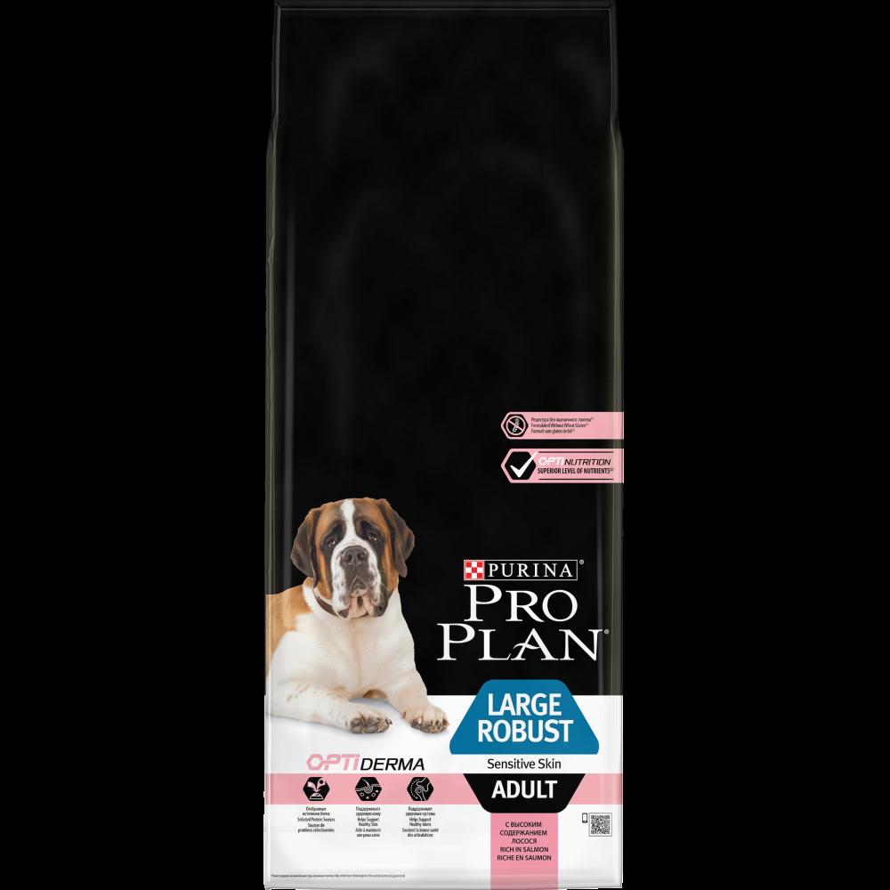 Pro Plan Lardge Robust Adult для взрослых собак крупных пород с мощным телосложением с чувствительной кожей с лососем и рисом 14 кг