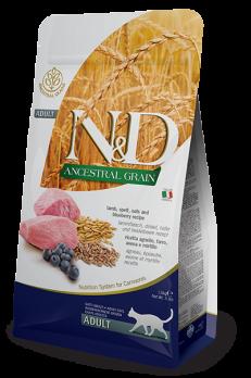Farmina N&D ANCESTRAL GRAIN для кошек ягненок, спельта, овес, черника