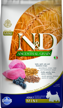Farmina N&D ANCESTRAL GRAIN для собак MINI ягненок, спельта, овес, черника