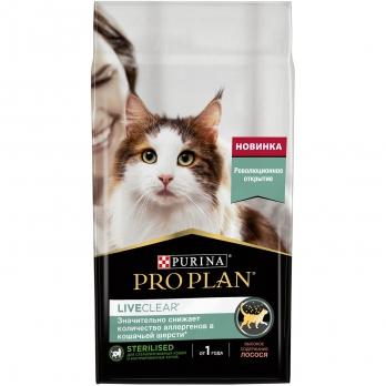 PRO PLAN LiveClear для взрослых стерилизованных кошек и кастрированных котов с лососем 1.4кг