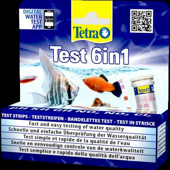 Tetra Test 6 в 1 GH/KH/NO2/NO3/pH/Cl полоски для пресной воды 25 шт.
