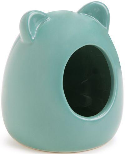 Beeztees Домик для грызунов керамический зеленый 9*9*11см