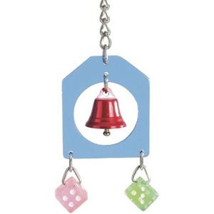 Beeztees Игрушка для птиц подвесная с колокольчиком и 2-мя кубиками, акрил 26см