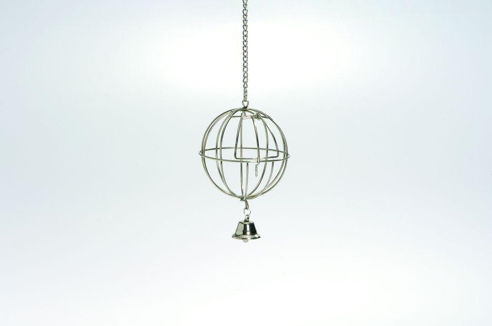 Beeztees Кормушка-мяч металлическая хромированная подвесная с дверцей и колокольчиком 12см