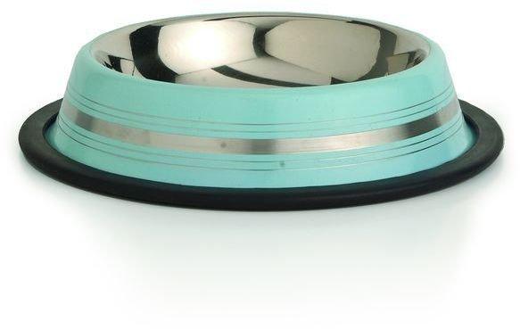 Beeztees Миска для кошек стальная нескользящая голубая в полосочку 180мл*11см