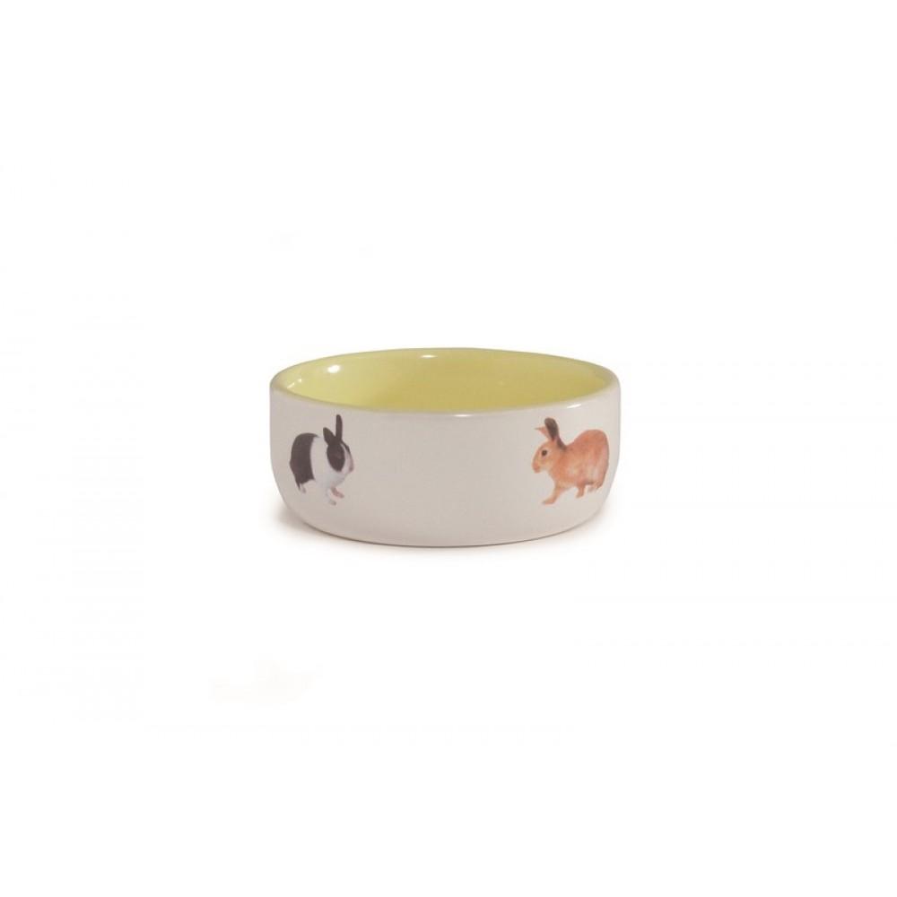 Beeztees Миска керамическая с изображением кролика, желтая 300мл*11,5см