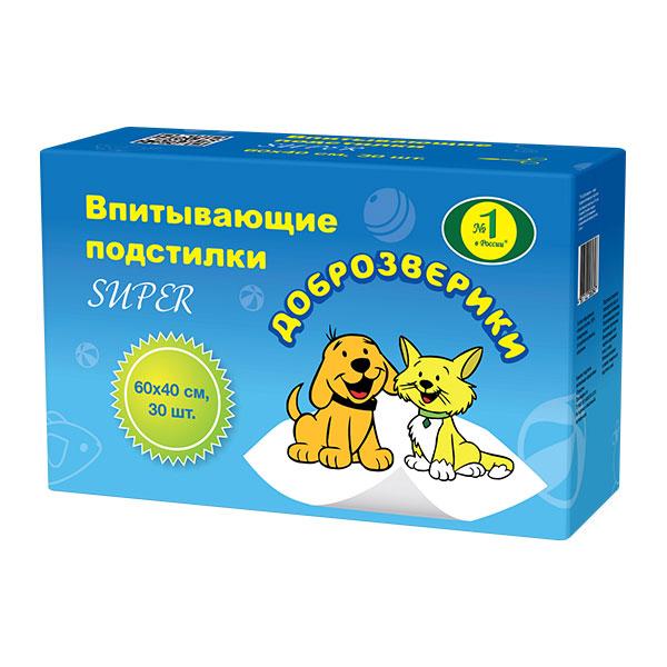 Пелигрин Доброзверики Подстилки впитывающие для домашних животных супер 60*40*30шт