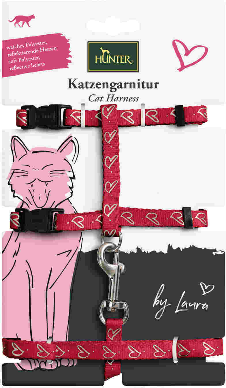 Hunter шлейка для кошек и собак by Laura нейлон красная