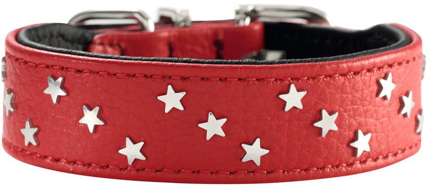 Hunter ошейник для собак Capri Mini Звезды 37 (30-34,5 см) кожа, красно-черный