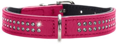Hunter ошейник для собак Diamond petit 27 (20-24 см) кожа 2 ряда страз розовый