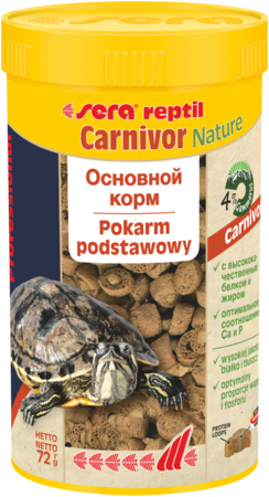 Sera Carnivor 250мл. корм для пресноводных черепах и плотоядных рептилий.