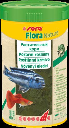 Sera Flora хлопьевидный корм для растительноядных рыб.
