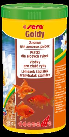 Sera Goldy хлопьевидный корм для золотых рыбок.
