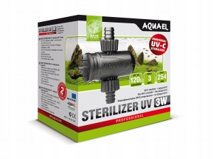 AQUAEL Стерилизатор UV AS- 3W - подходит для MINIKANI и др.фильтров, с диаметром шланга 14мм