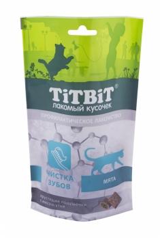 TiTBiT Профилактическое лакомство для кошек, Чистка зубов, с мятой, подушечки с мясом утки