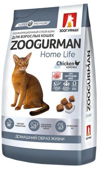 Зоогурман Home Life сухой корм для кошек Курочка