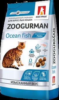 Зоогурман Gourmet сухой корм для взрослых кошек Океаническая рыба